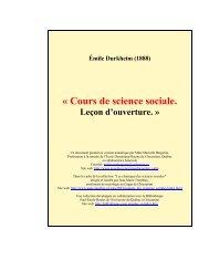 Émile Durkheim (1888), Cours de science sociale. Leçon d'ouverture
