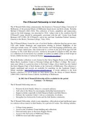 The O'Donnell Fellowship in Irish Studies - University College Cork