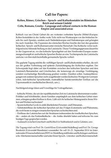 Kelten, Römer, Griechen III CFP