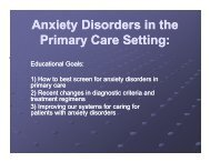 Anxiety Disorders in the y Primary Care Setting: