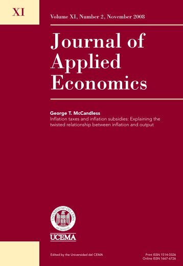 Journal of Applied Economics - Universidad del CEMA