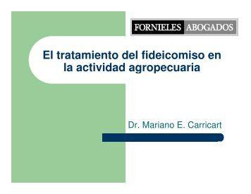 El tratamiento del fideicomiso en la actividad agropecuaria