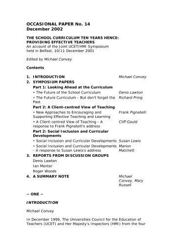 The School Curriculum Ten Years Hence - UCET: Universities ...