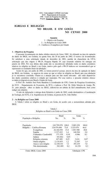 igrejas e religião no brasil e em goiás no censo 2000 - Ucg