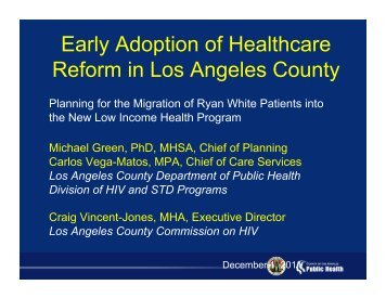 Early Adoption of Health Care Reform in Los Angeles County