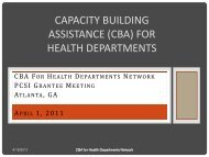 capacity building assistance (cba) for health departments
