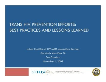 trans hiv prevention efforts: best practices and lessons learned
