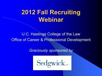 2012 Fall Recruiting Orientation Slideshow - Hastings College of the ...