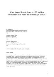 What Values Should Count in Value Based Pricing for the NHS - UCL