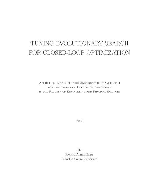 tuning evolutionary search for closed-loop optimization - Computer ...