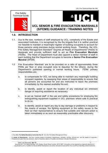 UCL SENIOR & FIRE EVACUATION MARSHALS (S/FEMS ...