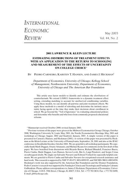 Estimating Distributions of Counterfactuals with an Application ... - UCL