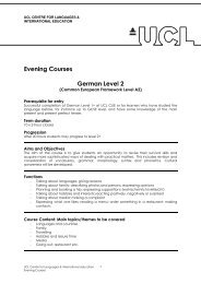Evening Courses German Level 2 - UCL