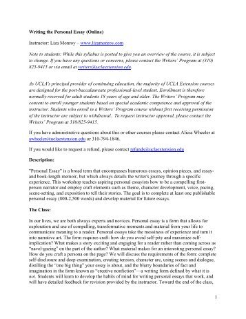 EXAMPLES OF WRITING A PERSONAL ESSAY ... - TeamMates