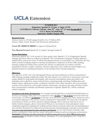 SUMMER 2013 Elementary Spanish XL 2/Units: 4 ... - UCLA Extension
