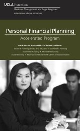 Personal Financial Planning - UCLA Extension