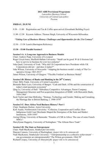 2013 ABH Provisional Programme - University of Central Lancashire