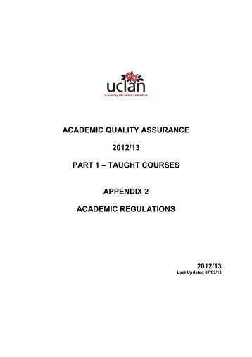 academic quality assurance 2012/13 part 1 - University of Central ...