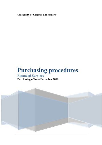 Purchasing procedures - University of Central Lancashire