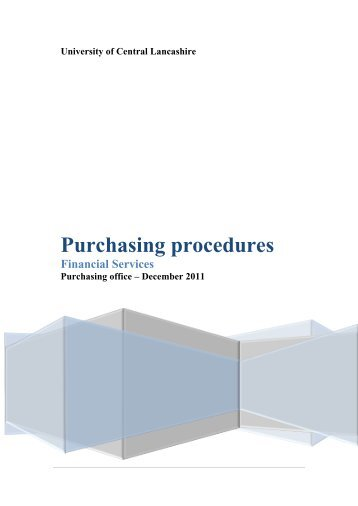 Purchasing procedures - University of Central Lancashire