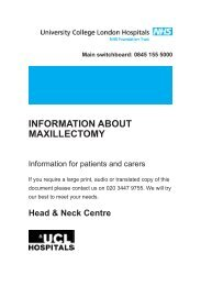 information about maxillectomy - University College London Hospitals
