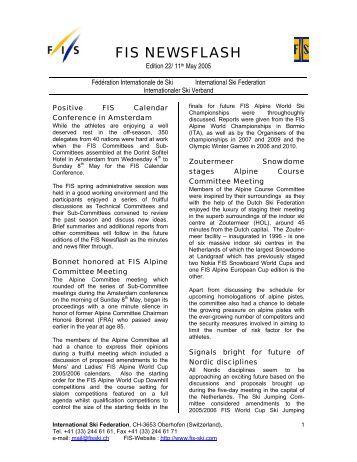 FIS Newsflash 22 (11.05.2005) - International Ski Federation