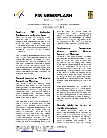 FIS Newsflash 22 (11.05.2005) - International Ski Federation