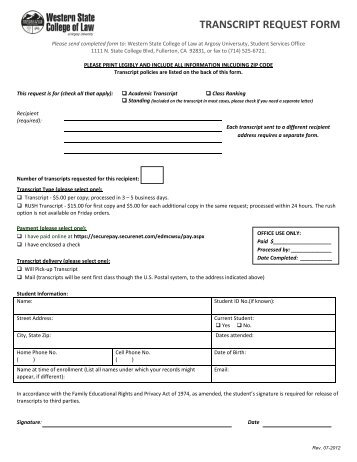 Transcript Request Form  Umuc