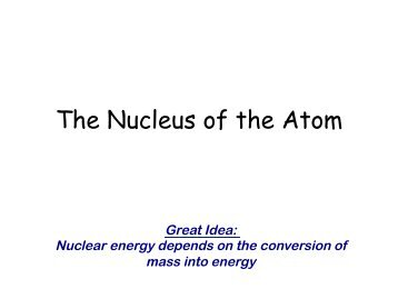 The Nucleus of the Atom