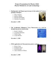 Project Presentations for Physics 10262 Physics Methods in Art and ...