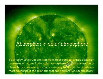 Absorption in solar atmosphere