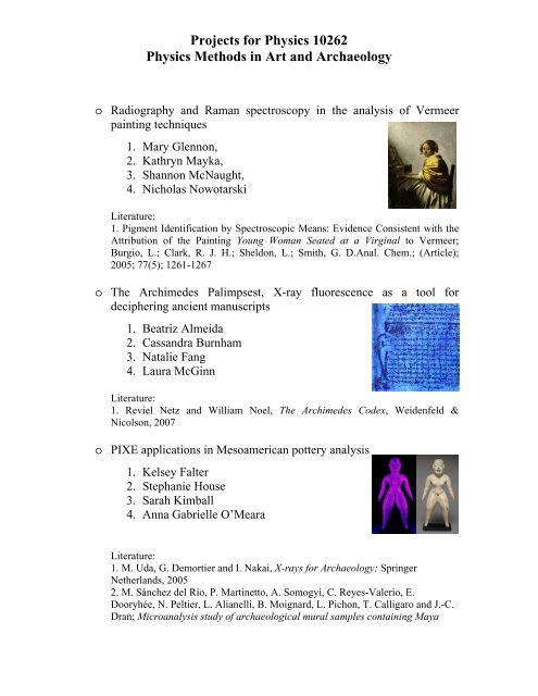 Projects for Physics 10262 Physics Methods in Art and Archaeology
