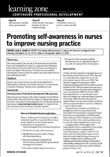 promoting self awareness in nurses to improve nursing practice.pdf