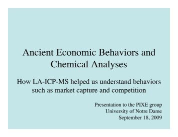 Ancient Economic Behaviors and Chemical Analyses - ISNAP ...