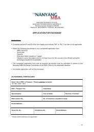 outgoing exchange application form - Nanyang Technological ...