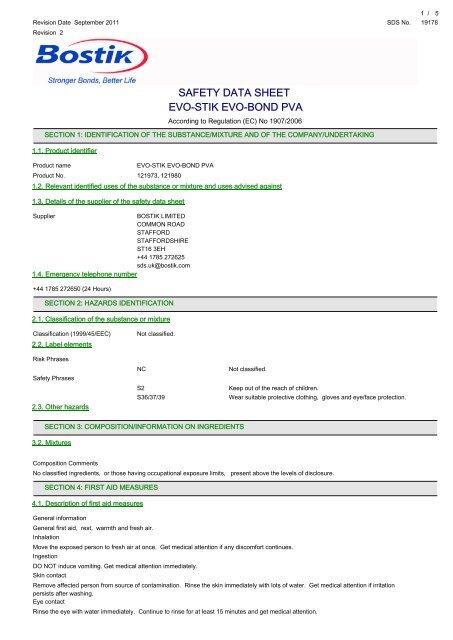 safety data sheet evo-stik evo-bond pva - Flint Hire & Supply