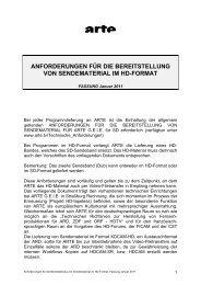 anforderungen für die bereitstellung von sendematerial im hd ... - Arte