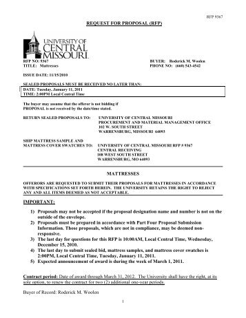 RFP - University of Central Missouri