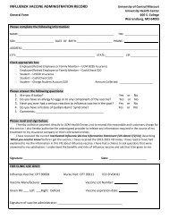 influenza vaccine administration record - University of Central Missouri