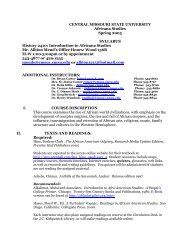 a printable version of the syllabus. - University of Central Missouri