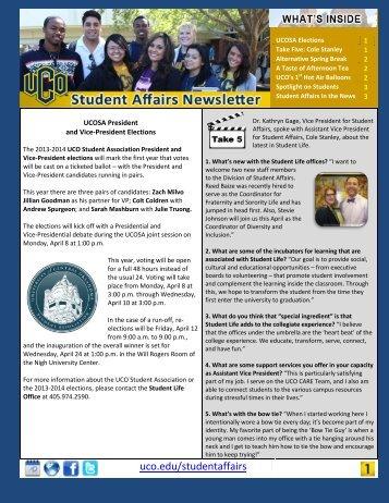 April 2013 Newsletter - University of Central Oklahoma