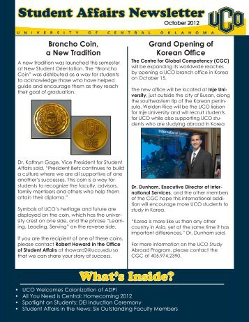 October 2012 Newsletter - University of Central Oklahoma