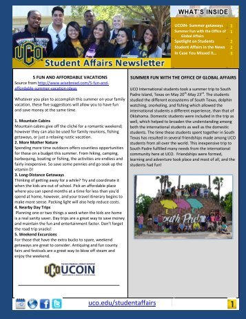 Summer 2013 Newsletter - University of Central Oklahoma