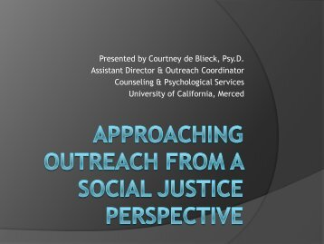 Approaching Outreach from a Social Justice Perspective