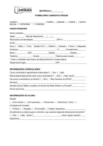 Formulário Candidato - Universidade Católica de Pelotas