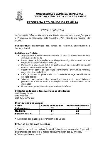 Edital Pet Saúde - Universidade Católica de Pelotas