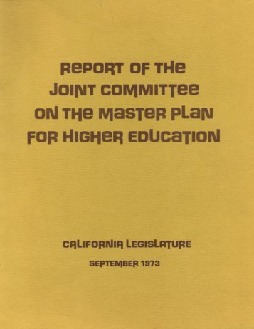 report of the joint committee on the master plan for higher education