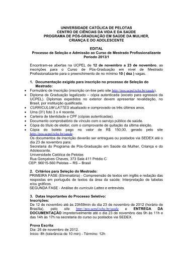 Edital Seleção - Universidade Católica de Pelotas