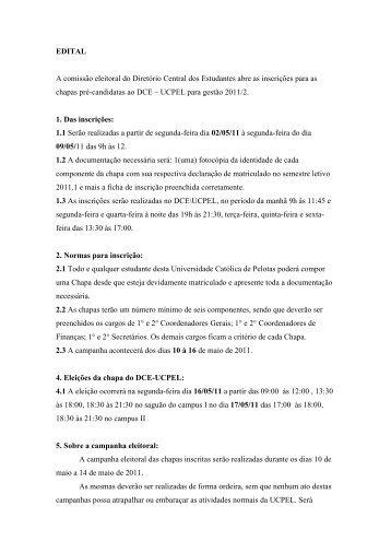 Edital - Eleições DCE 2011 - Universidade Católica de Pelotas