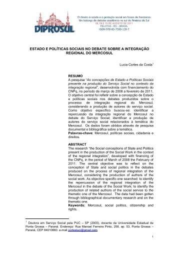 estado e políticas sociais no debate sobre a integração regional do ...
